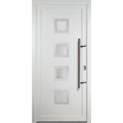 Portes d'entrée classique modèle C18, intérieur: blanc, extérieur: blanc largeur:108cm, hauteur:208cm, sens d'ouverture: DIN droite