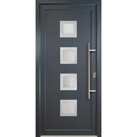 Portes d'entrée classique modèle C18, intérieur: blanc, extérieur: titane largeur:108cm, hauteur:208cm, sens d'ouverture: DIN droite