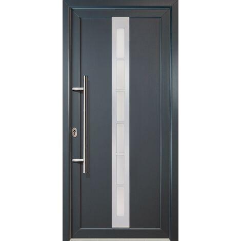 Portes d'entrée classique modèle C22, intérieur: blanc, extérieur: titane largeur:108cm, hauteur:200cm, sens d'ouverture: DIN gauche