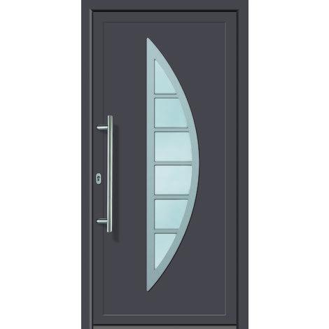 Portes d'entrée aluminium modèle 428A, intérieur: titane, extérieur: titane largeur:108cm, hauteur:200cm, sens d'ouverture: DIN droite