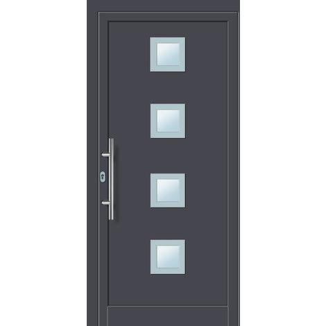 Portes d'entrée aluminium modèle 484A, intérieur: titane, extérieur: titane largeur:108cm, hauteur:208cm, sens d'ouverture: DIN droite