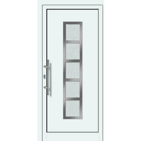 Portes d'entrée aluminium modèle 451A, intérieur: blanc, extérieur: blanc largeur:108cm, hauteur:200cm, sens d'ouverture: DIN gauche