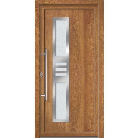 Portes d'entrée Exklusiv modèle 853, intérieur: blanc, extérieur: golden oak largeur:98cm, hauteur:200cm, sens d'ouverture: DIN droite