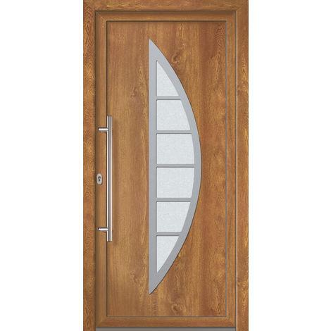 Portes d'entrée Exklusiv modèle 828, intérieur: blanc, extérieur: golden oak largeur:108cm, hauteur:208cm, sens d'ouverture: DIN droite