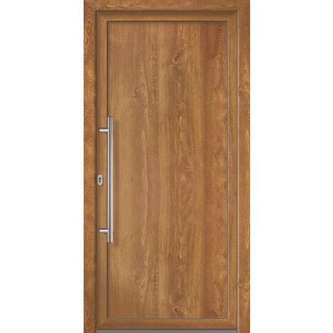 Portes d'entrée Exklusiv modèle 801, intérieur: golden oak, extérieur: golden oak largeur:108cm, hauteur:200cm, sens d'ouverture: DIN gauche
