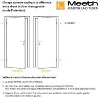 Portes d'entrée aluminium modèle 92, intérieur: blanc, extérieur: blanc largeur: 108cm, hauteur: 200cm, sens d'ouverture: tirant droit