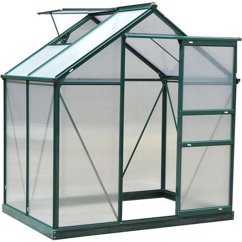 Serre de jardin aluminium polycarbonate 2,51 m² dim. 1,9L x 1,32l x 2,01H m lucarne, porte coulissante + fondation incluse alu. vert polycarbonate transparent