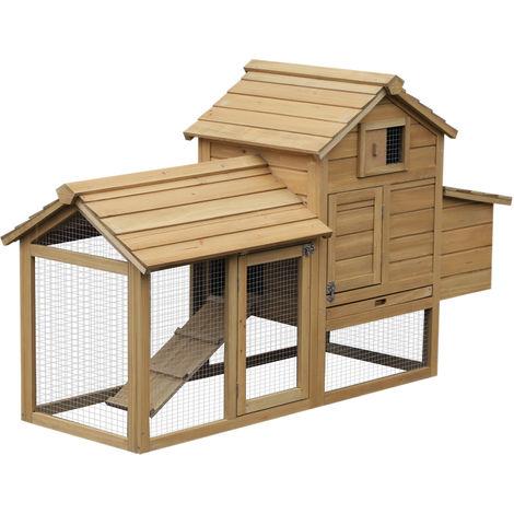 Petit poulailler cottage cage à poules sur pied dim. 151L x 54l x 87H cm multi-équipement bois massif de pin