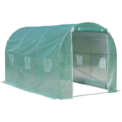 Serre de jardin tunnel surface sol 8 m² 4L x 2l x 2,10H m châssis tubulaire renforcé porte zippée 6 fenêtres enroulables vert