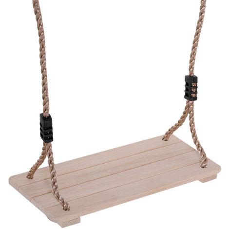 Siège de balançoire pour enfants dim. 40L x 16l x 120H cm bois massif de pin cordes anneaux