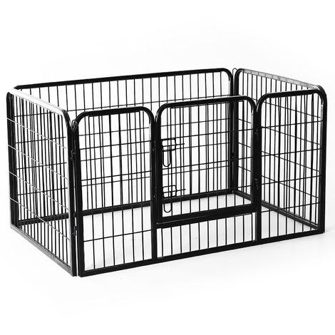 Luxe parc enclos acier 125L x 80l x 70H cm 4 panneaux et 1 porte pour chiens noir