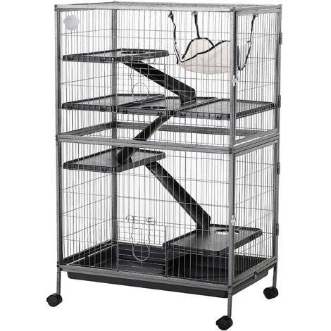 Cage pour rongeurs multifonction 4 plateformes 3 rampes 4 portes dim. 80L x 52l x 128H cm métal gris argenté noir
