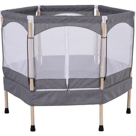Trampoline enfant dim. 126L x 109l x 98H cm filet de sécurité porte zipée couvre-ressorts inclus gris