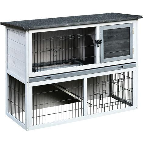 Clapier à lapin cage à lapin 2 étages 3 portes verrouillables plateau coulissant rampe et toit ouvrant bois de sapin gris blanc