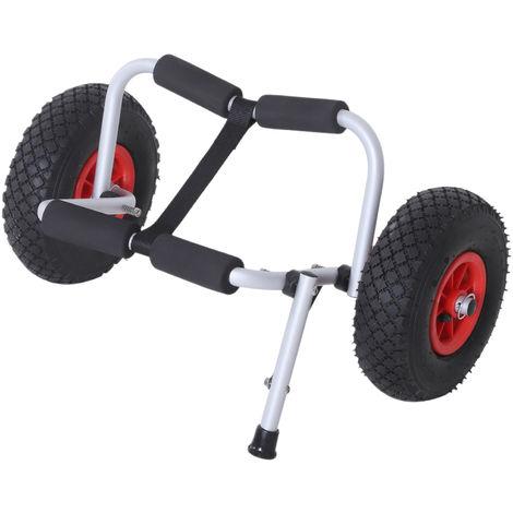 Chariot sit on top kayak chariot de transport pliable pour bateaux canoë ou kayak charge max. 60 Kg alu. mousse antidérapante