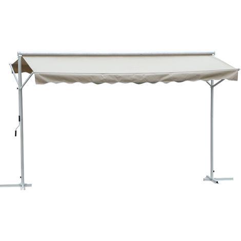 Store double pente manuel rétractable inclinaison réglable acier époxy blanc polyester imperméabilisé anti-UV beige dim. 4,50L x 3,42l x 2,50H m