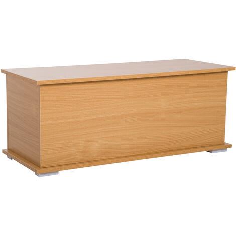 Coffre malle de rangement coffre à jouets dim. 100L x 40l x 40H cm panneaux particules bois clair