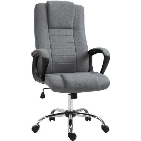 HOMCOM Fauteuil de bureau à roulettes chaise manager ergonomique pivotante hauteur réglable lin gris foncé