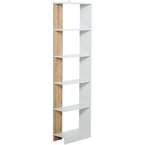 Bibliothèque Étagère de Rangement avec 5 Compartiments Ouverts Design Simple Moderne Idéale pour Salon Chambre Bureau 45 x 21 x 170 cm Blanc et Chêne
