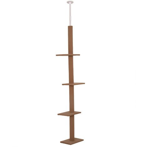 Arbre à chat poteau à griffer hauteur réglable dim. 43L x 27I x 228-260H cm 4 niveaux d'activités marron