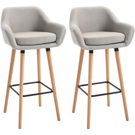 Tabourets de bar design scandinave - lot de 2 tabourets de bar grand confort avec repose-pieds et accoudoirs - bois de hêtre lin beige