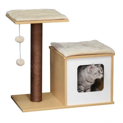 Arbre à chats design griffoir sisal naturel niche plate-forme jeu boules suspendues 68L x 37,5l x 64H cm MDF bois clair blanc