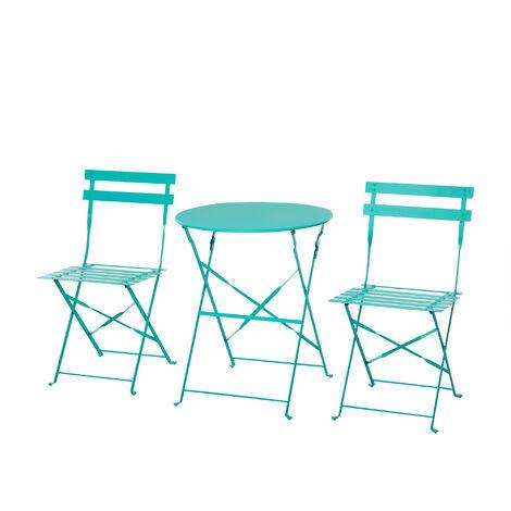 Salon de jardin bistro pliable - table ronde Ø 60 cm avec 2 chaises pliantes - métal thermolaqué turquoise