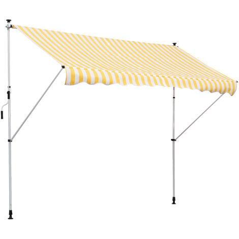 Store banne manuel rétractable 3L x 1,5l m inclinaison et hauteur réglable installation rapide métal alu polyester anti-UV jaune blanc rayé