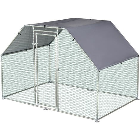 Enclos poulailler chenil 5,32 m² - parc grillagé dim. 2,8L x 1,9l x 1,95H m - poulailler chenil entièrement couvert - acier galvanisé