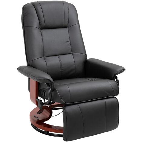 Fauteuil relax inclinable repose-pieds réglable pivotant 360° piètement bois revêtement PU noir