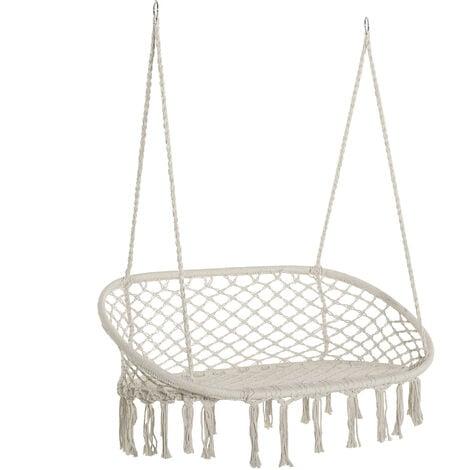 Chaise suspendue banc suspendu dim. 130L x 75l x 40H m macramé coton polyester beige