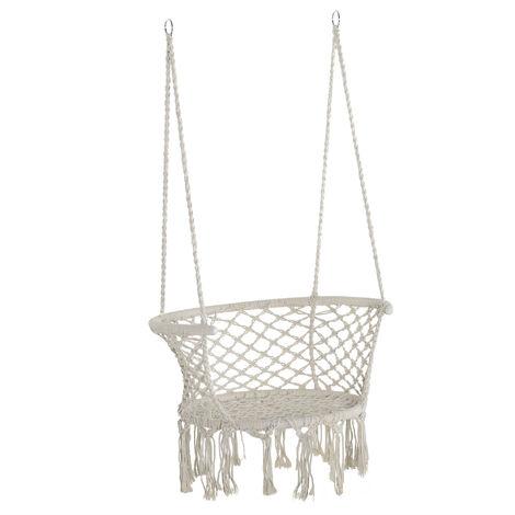 Chaise suspendue hamac de voyage portable dim. 80L x 60l x 36H m macramé coton polyester beige