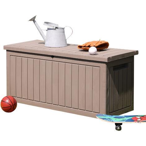 Coffre de jardin malle de rangement dim. 124L x 52l x 56H cm polypropylène texturé imitation lattes de bois gris