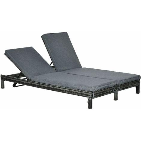 Bain de soleil transat 2 places - grand confort - dossier inclinable multi-positions - matelas fournis - résine tressée gris