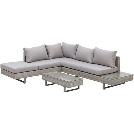 Ensemble salon de jardin d'angle 5 places design contemporain coussins déhoussables table basse acier époxy résine tressée grise