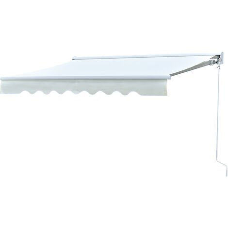 Store banne électrique et manuel rétractable lumineux LED aluminium polyester haute densité imperméabilisé dim. 2,5L x 2l (avancée) m crème