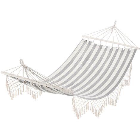Hamac de voyage portable style hippie chic toile de hamac dim. 2L x 1l m coton polyester gris écru rayé