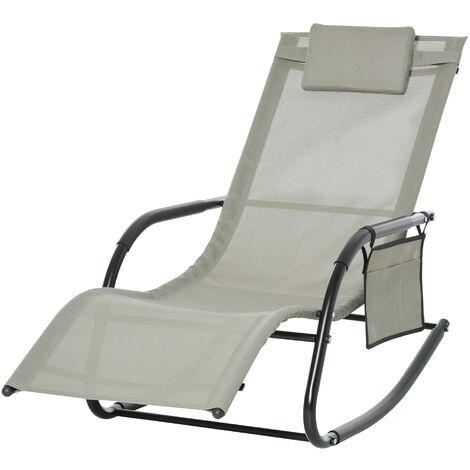 Chaise longue à bascule - rocking chair ergonomique - tétière amovible, accoudoirs, pochette rangement - métal époxy textilène gris clair