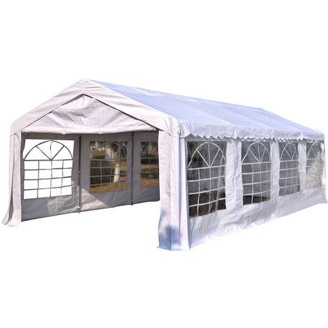 Tente barnum tonnelle de réception 798L x 392l x 280H cm polyéthylène imperméable 8 fenêtres et acier galvanisé robuste blanc