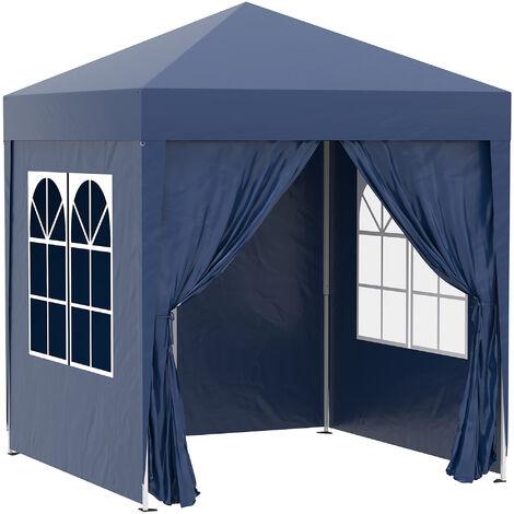 Tonnelle de jardin tente pliante barnum pop-up 2 x 2 m 4 parois latérales amovibles 2 fenêtres sac de transport pour camping, festival, plage, jardin bleu