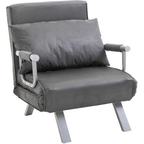 Fauteuil chauffeuse canapé-lit convertible 1 place déhoussable grand confort coussin pieds accoudoirs métal suède gris