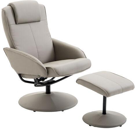 Fauteuil relax inclinable style contemporain avec repose-pieds revêtement synthétique acier gris