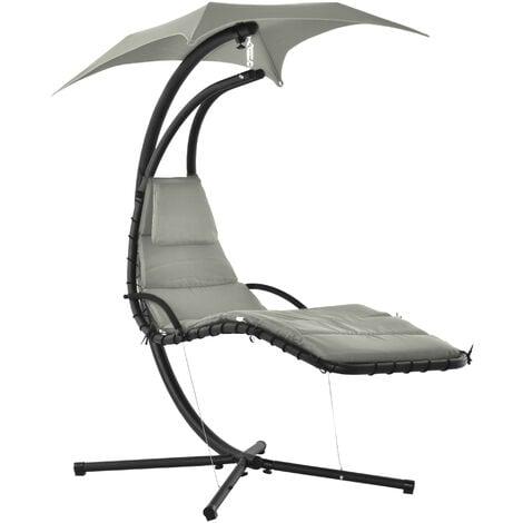 Bain de soleil transat suspendu avec pare-soleil et matelas design contemporain 190L x 115l x 190H cm acier polyester gris noir