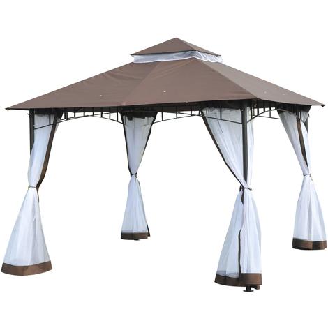 Tonnelle barnum style colonial double toit toile moustiquaires amovibles 3L x 3l x 2,7H m métal époxy polyester chocolat et blanc