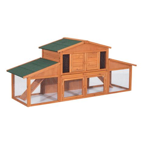 Clapier cage à lapins rongeurs poulailler XXL 2 étages 2 enclos tiroir déjection 2,27L x 0,70l x 1H m bois massif pin