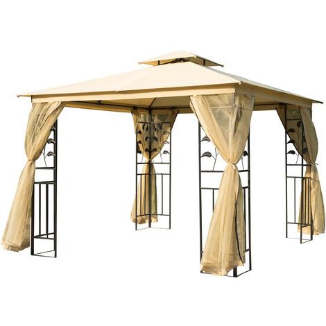Tonnelle barnum style colonial double toit toiles moustiquaires amovibles 3L x 3l x 2,65H m beige noir