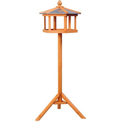 Mangeoire sur pied nichoir a plateau station a oiseau bois pour exterieur 113 cm
