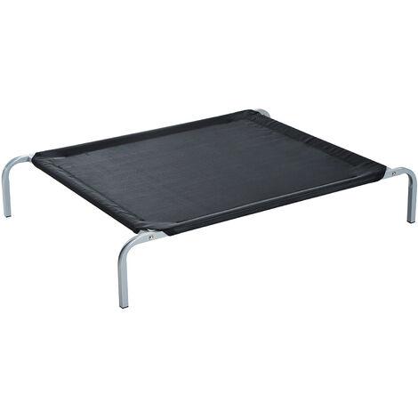 Lit pour chien chat XXL grand confort sur pieds lit de camp 130L x 80l x 20H cm textilène micro-perforé noir