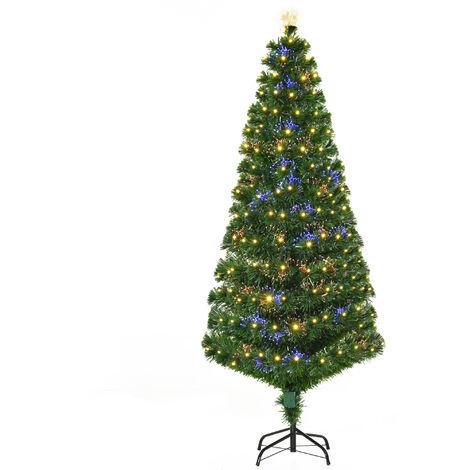 Sapin de Noël artificiel lumineux fibre optique LED multimode multicolore + support pied Ø 82 x 180H cm 230 branches étoile sommet brillante vert