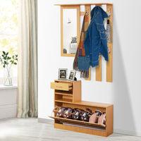 Ensemble de meubles d'entrée design contemporain : meuble chaussures, miroir et panneau porte-manteau panneaux de particules bois clair
